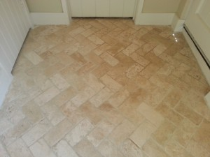 Travertine Tiled Floor After Cleaning and Polishing