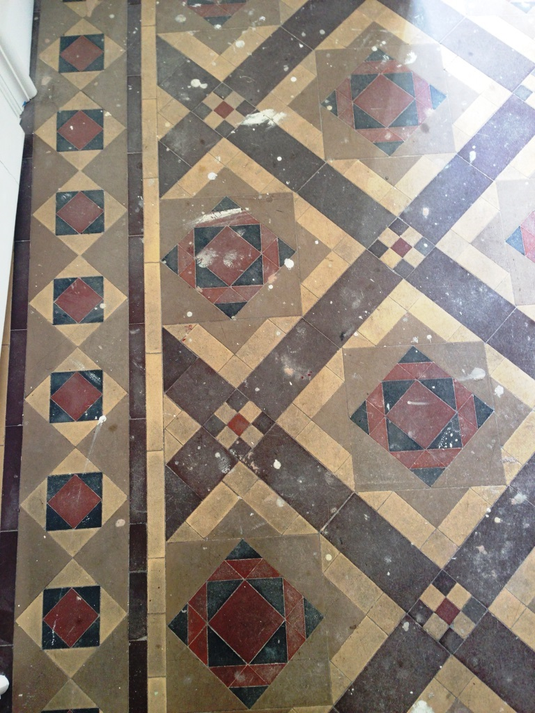 Victorian Tiled Floor Before Restoration Eastbourne