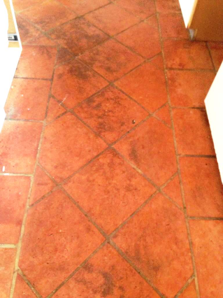 Terracotta Tiles Before Cleaning Bognor Regis