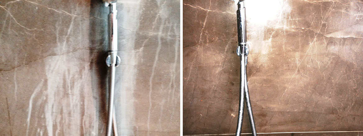 Damaged Marble Shower Tiles in Woodmancote Before After