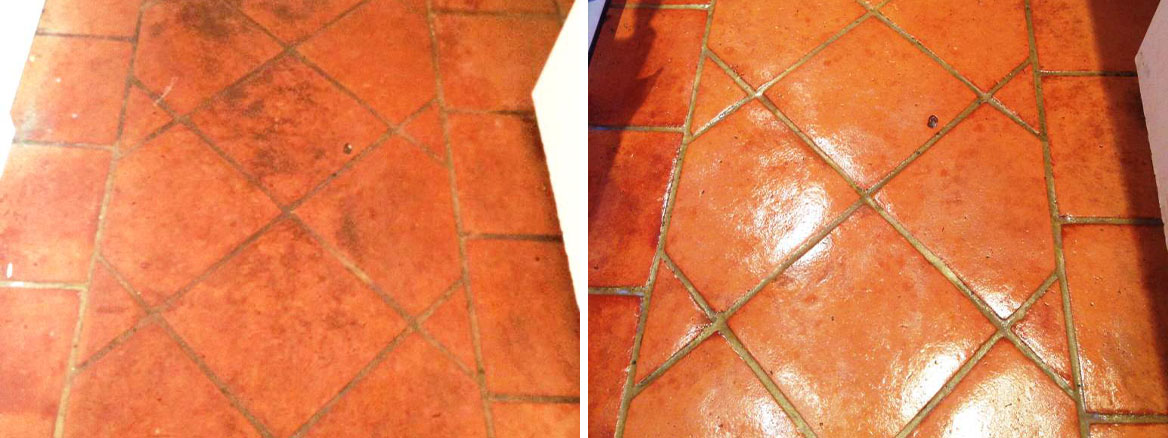 Terracotta Tiles Before After Cleaning Bognor Regis