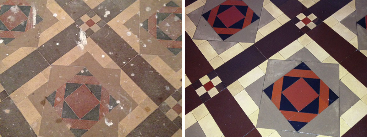 Victorian Tiled Floor Before After Restoration Eastbourne